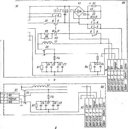 схема БУ прожекторов типов